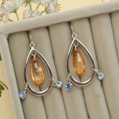 Серьги-капельки со стеклом
