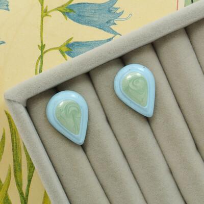 Серёжки с голубой и зелёной эмалью