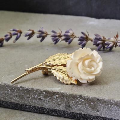 Винтажная брошь-роза