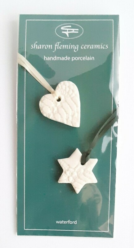 Porcelain Star and Heart decoration combi