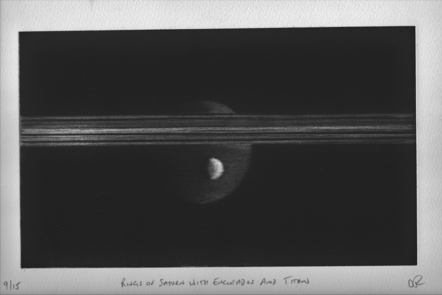 Rings of Saturn with Enceladus and Titan