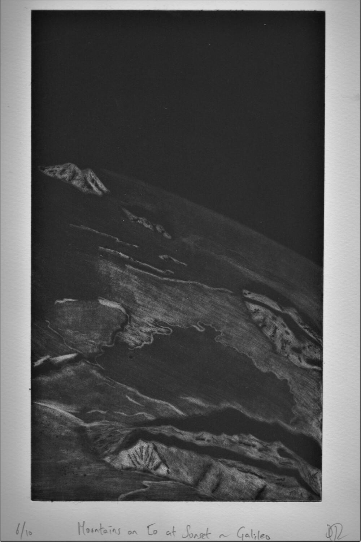Mountains on Io at Sunset