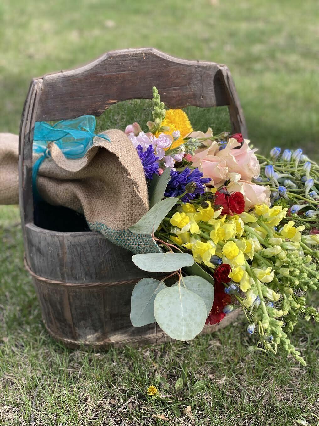 Vintage Bucket of Blooms