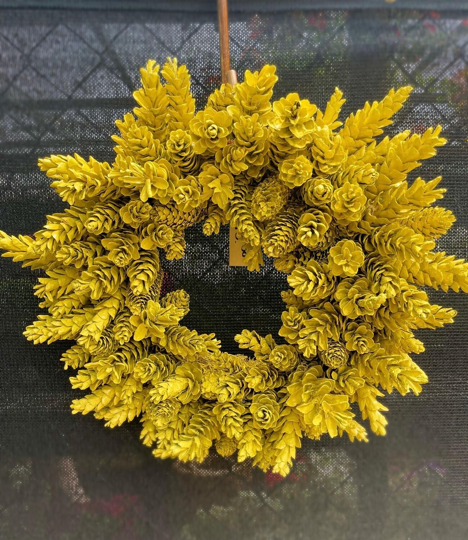 Yellow Pinecone Wreath