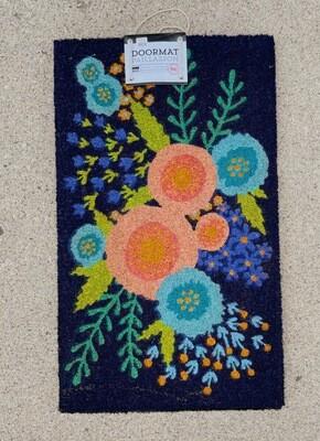 Blue and Orange Floral Door Mat