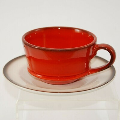 Metlox Poppytrail Red Rooster Red coffee cup and saucer