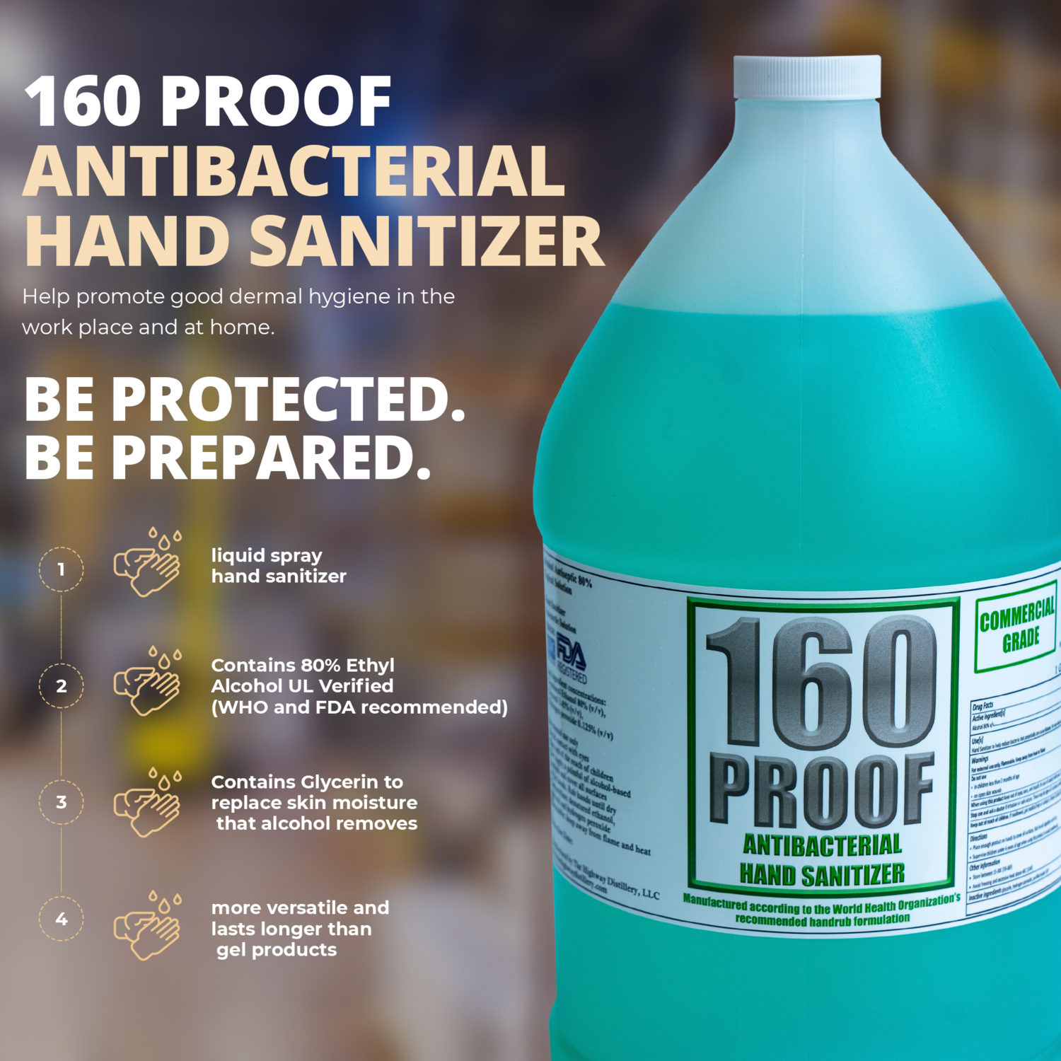 160 Proof Liquid Hand Sanitizer - 1 Gallon