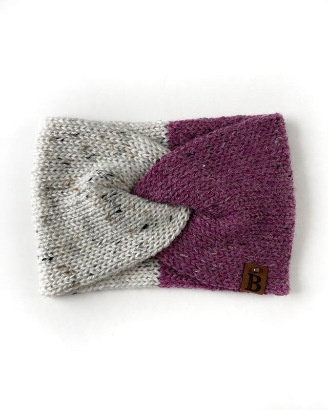 Adult Twisted Turban Ear Warmer - Raw Cotton & Thistle