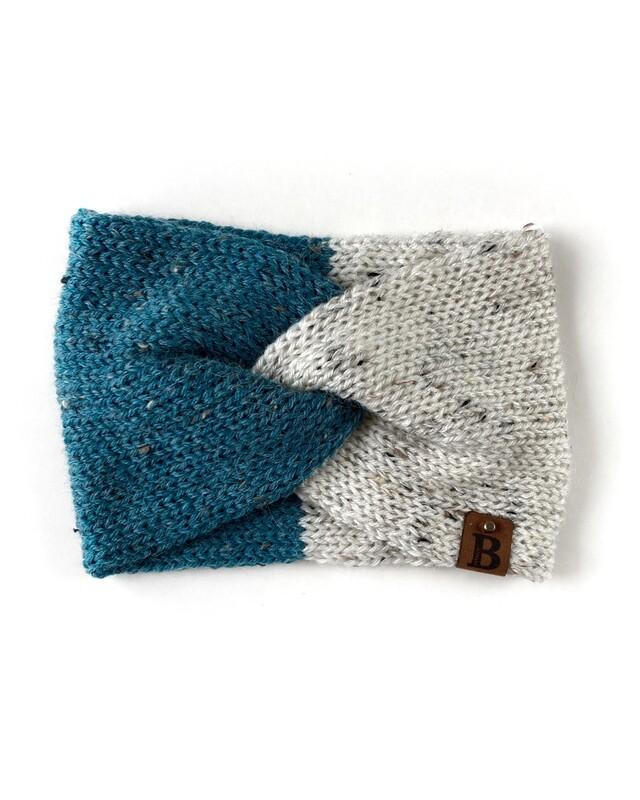 Adult Twisted Turban Ear Warmer - Cool Stream & Raw Cotton