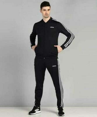 ADIDAS Striped Men BLACK TrackSuit (Jacket & TrackPant)