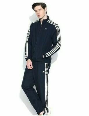 ADIDAS Striped Men Blue Track Suit (Jacket & Track Pant)