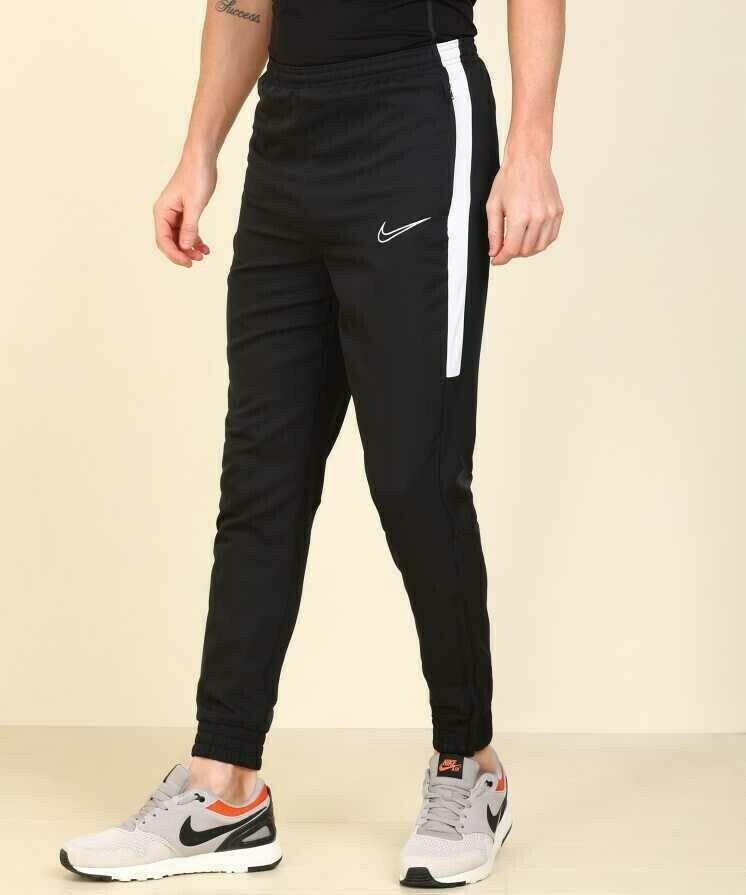Nike Solid Men Black stripped White Track Pants