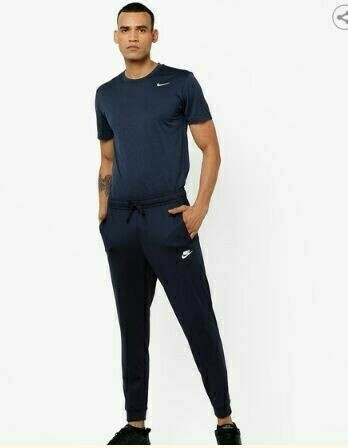 Nike Solid Men Blue Track Pants