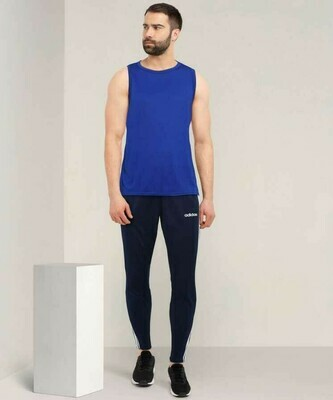 ADIDAS Solid & Casual Men Blue Track Pants