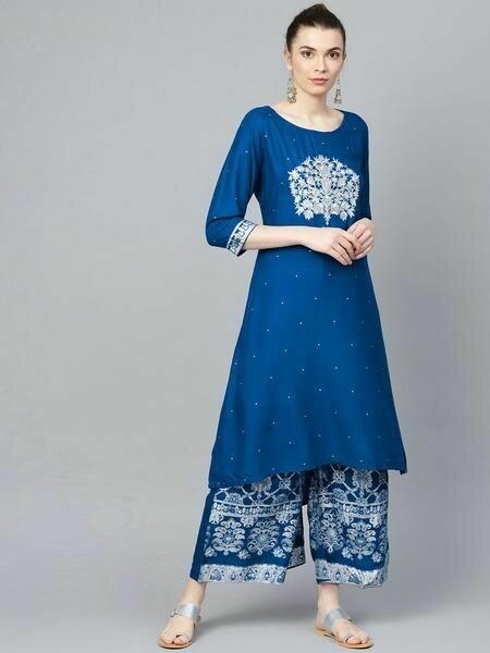 Royal Blue Embroidery Kurta with Printed Plazo