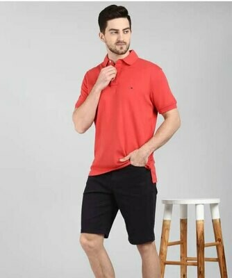 Solid Men Polo Neck Red T-Shirt