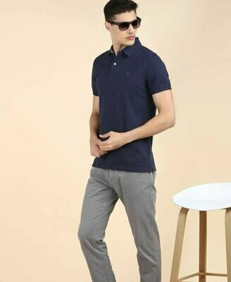 Solid Men Polo Neck Blue T-Shirt