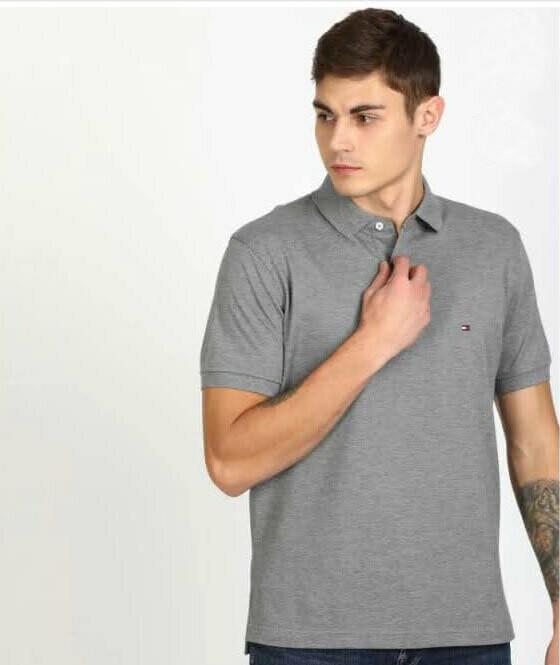 Solid Men Polo Neck GreyT-Shirt