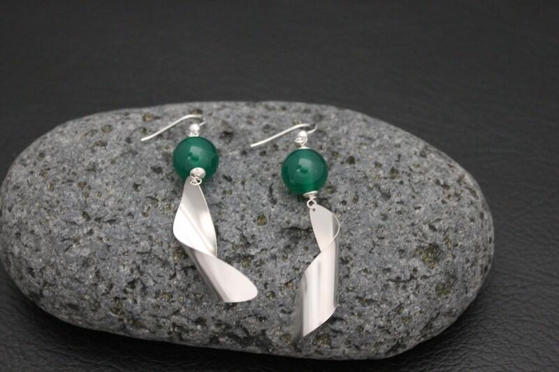 Earrings - Green Agate