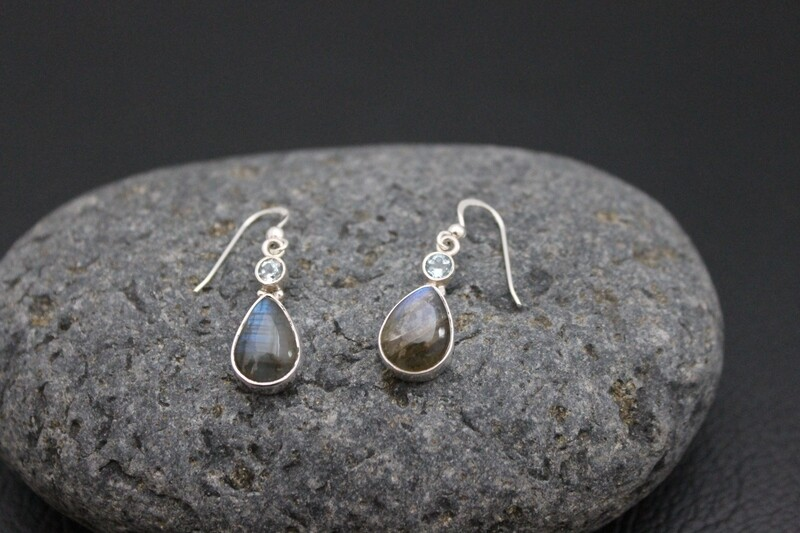 Blue Topaz & Labradorite Earrings