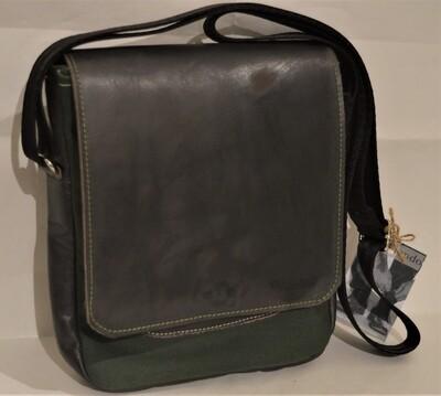 POSTINO - borsa artigianale a tracolla in pelle e canvas