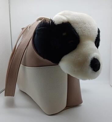 BASSOTTO- Borsa artigianale per trasporto cani in pelle