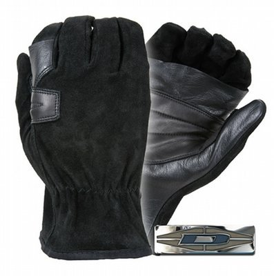 Suede palm reinforced rappelling gloves
