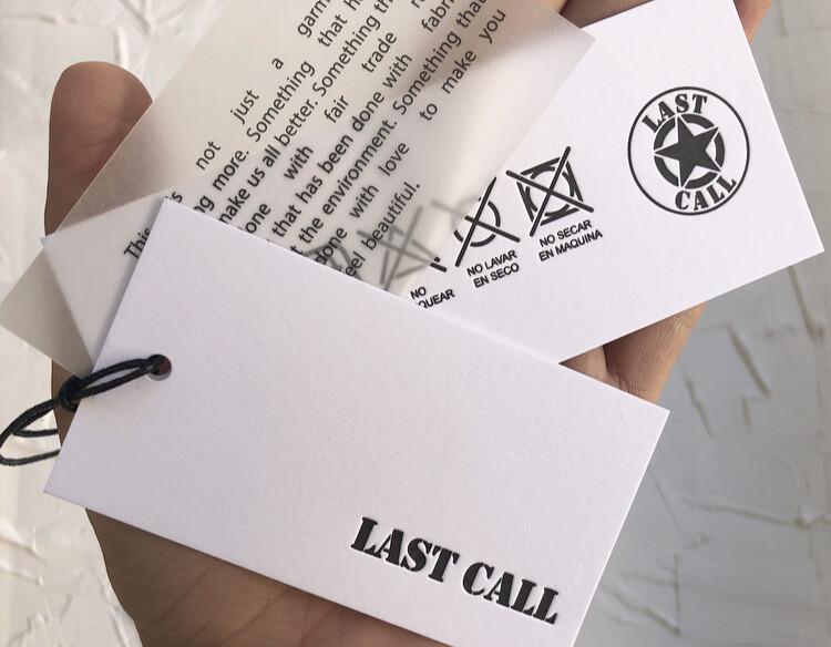 Letterpress premium clothing hang tags