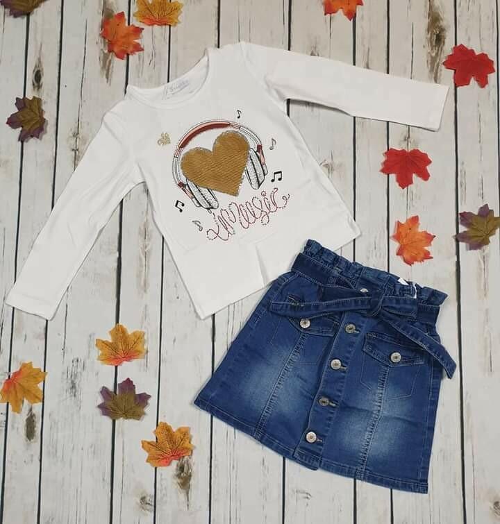 Completo autunnale gonna jeans maglietta pailettes reversibili