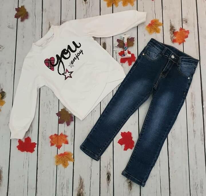 Completo felpa pailettes love e jeans