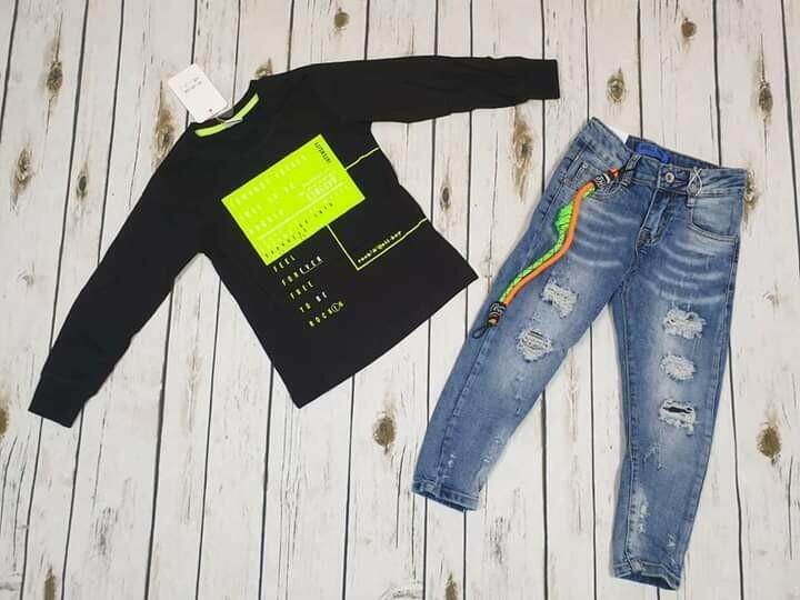 Completo bimbo maglietta cotone jeans 4 anni