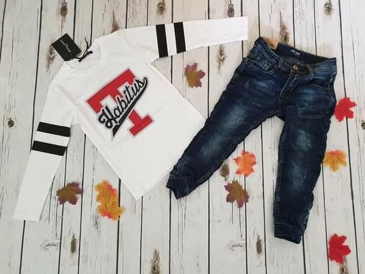 Completo maglietta cotone e jeans 4 anni