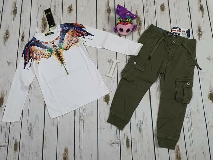 Completo bimbo primaverile pantaloni verde  militare