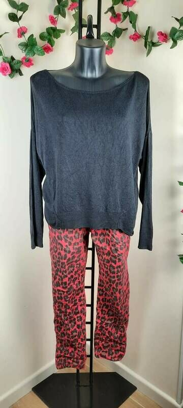 Completo donna primaverile pantaloni leopardati
