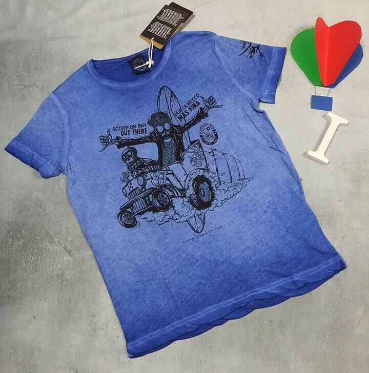 SCORPION BAY maglietta ragazzo in cotone blu