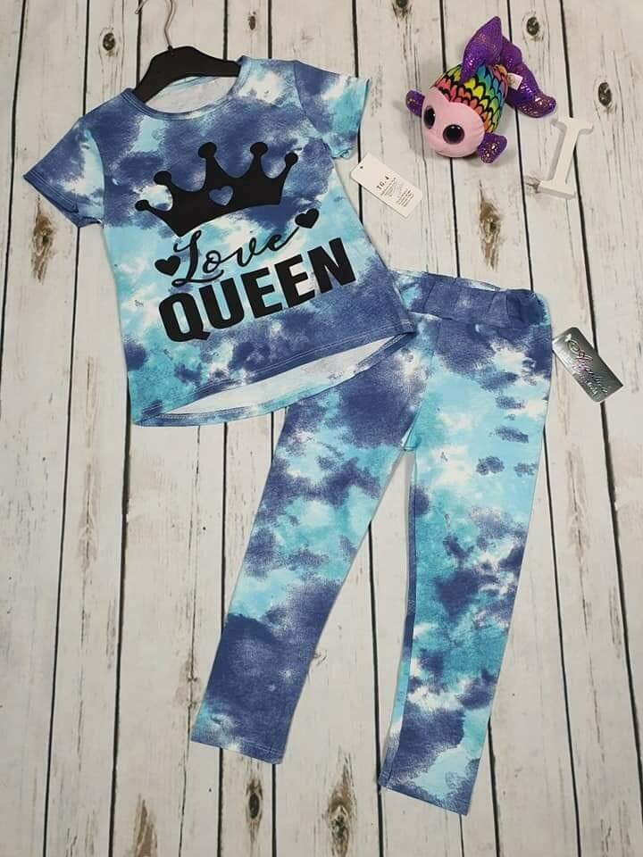 Completo bimba queen blu in cotone