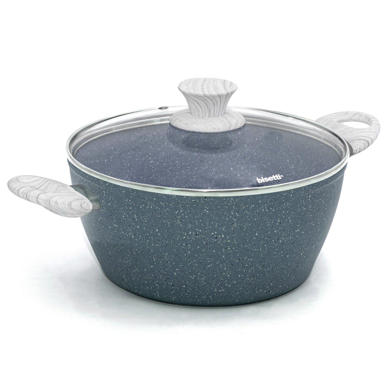 Casseruola ø 24 'Pierre Gourmet' con coperchio e maniglie design legno grigio