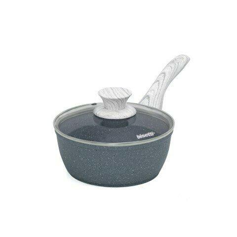 Casseruolino ø 18 cm 'Pierre Gourmet' con coperchio  manico design legno grigio