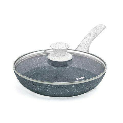 Padella ø 24 cm 'Pierre Gourmet' con coperchio e manico design legno grigio