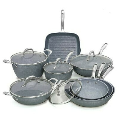 13 pieces cookware set 'Pierre Gourmet' with chromed steel handles