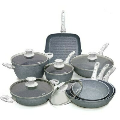 13 pieces cookware set 'Pierre Gourmet' with natural wood colour handles