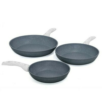 3 pieces cookware set 'Pierre Gourmet' with wood colour handles