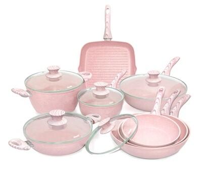 13 pieces cookware set 'Stonerose' pink wood colour handles