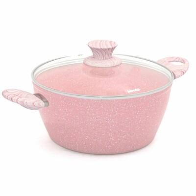 Casseruola ø 24 cm 'Stonerose' con coperchio e maniglie design legno rosa