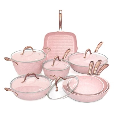 Batteria di pentole 13 pezzi 'Stonerose' con manici acciaio oro rosa