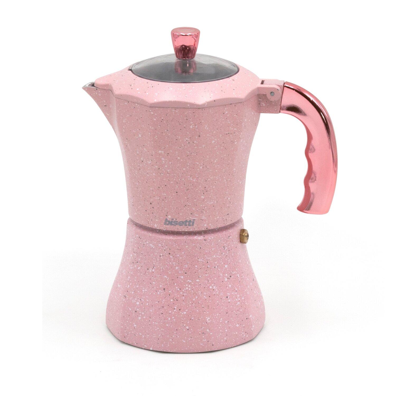 Caffettiera 'Stonerose' con manico e pomolo finitura oro rosa
