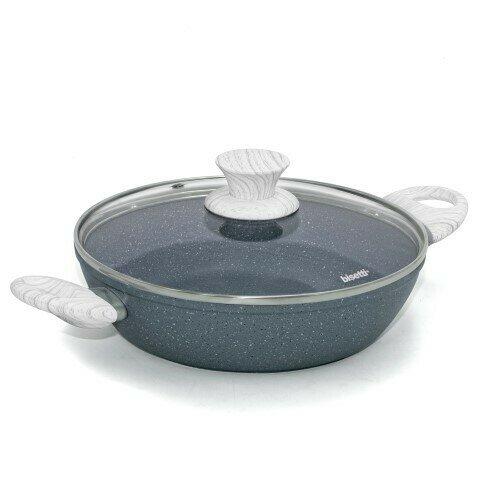 Tegame ø 24 cm 'Pierre Gourmet' con coperchio e maniglie design legno grigio