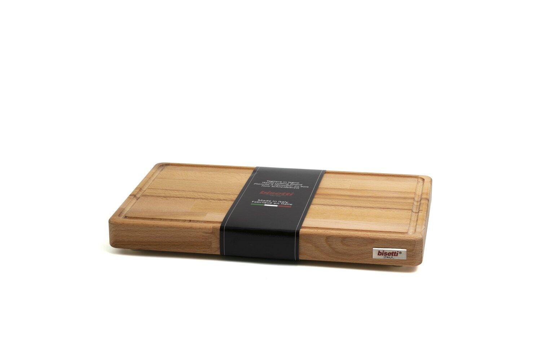 Tagliere con raccoglisugo e piedini in legno di faggio 40 cm