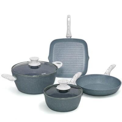 6 pieces cookware set 'Pierre Gourmet' wood colour handles