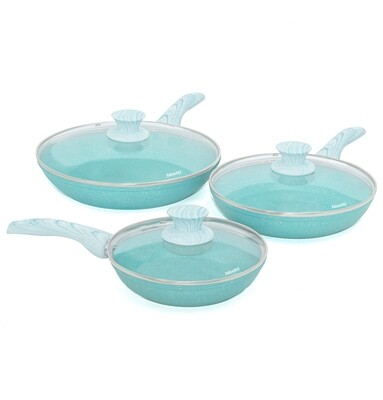 3 pieces cookware set 'Miss Gourmet' with turquoise wood colour handles and lids
